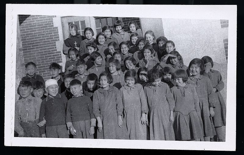 Students at Blue Quills Residential School Image public domain