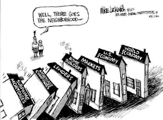 今天的資本主義是一個真正的全球體系,任何國家都無法擺脫它的影響,這意味著它的危機也是全球性的。//圖片來源:邁克·盧科維奇(Mike Lucovich)