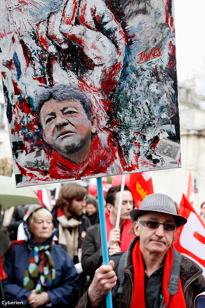 Melenchon art at the Toulouse demonstration