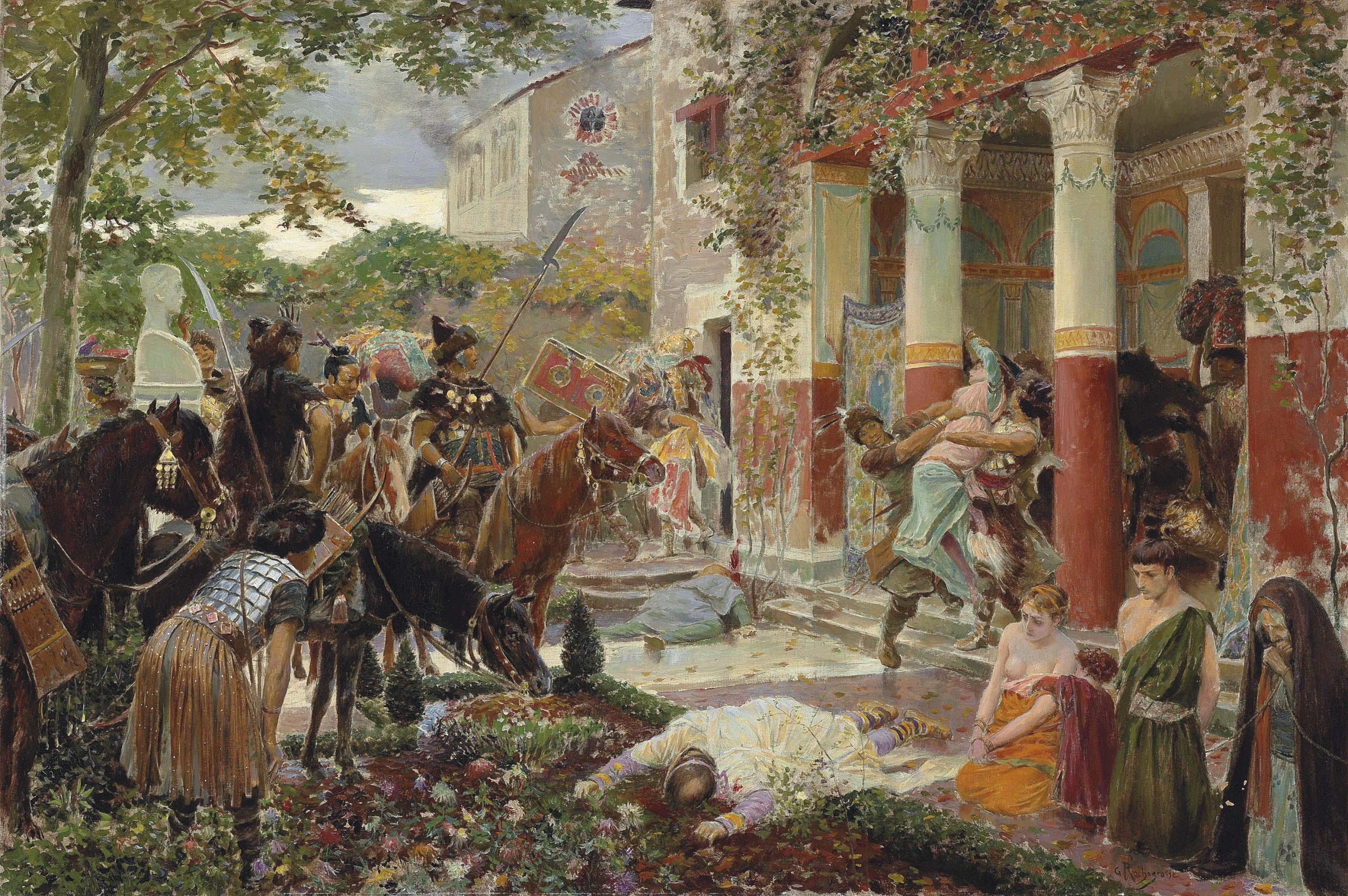 Georges Rochegrosse創作的《阿提拉與匈奴》描繪了高盧地區被洗劫的羅馬別墅。