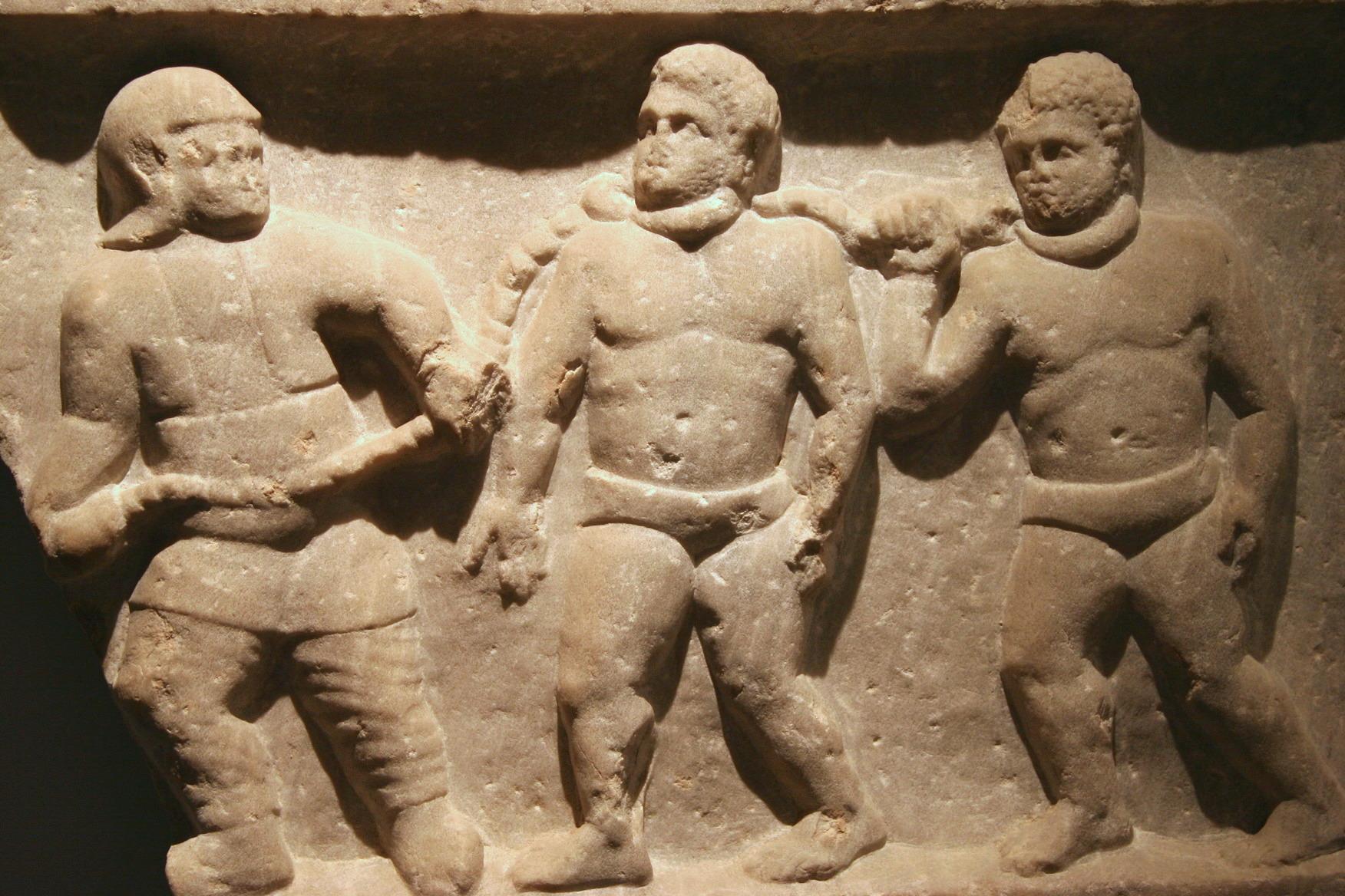 羅馬人的上鎖奴隸。//圖片來源:Jun, Flickr