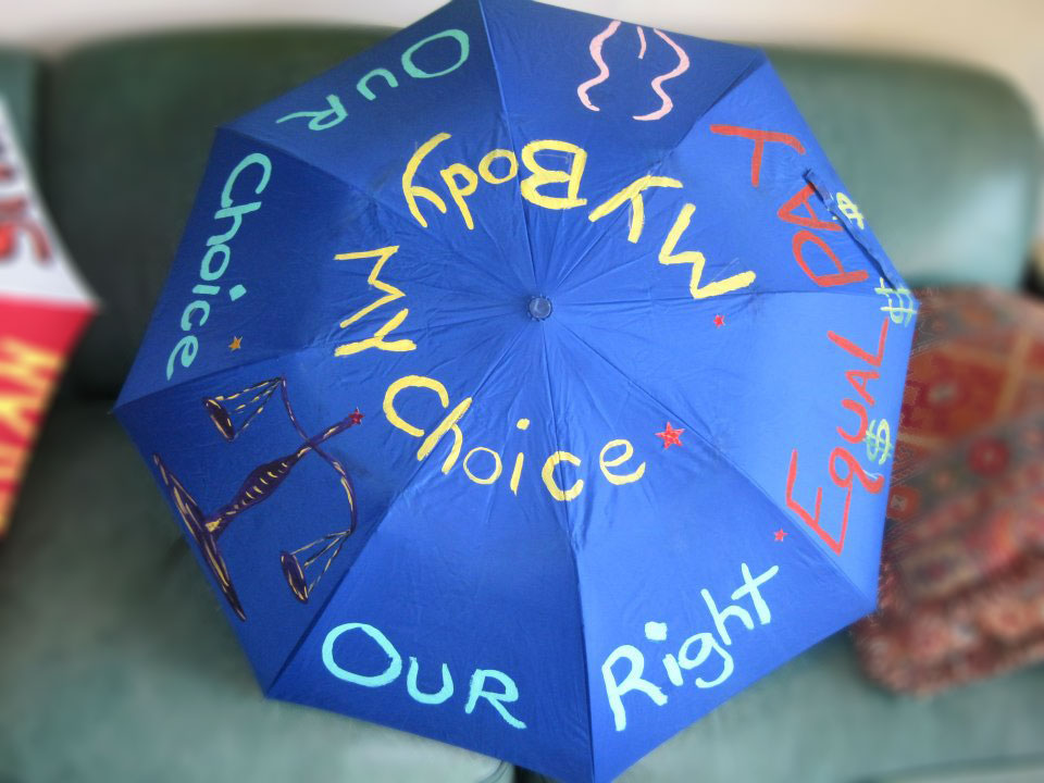 Umbrella from the We Are Woman rally, 18 August. Photo: We Are Woman