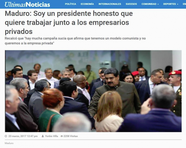 Maduro Announcing concessios to capitalists screengrab